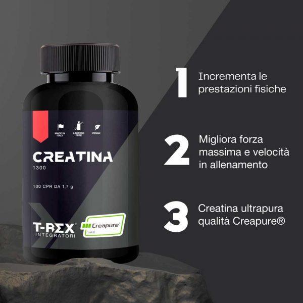 T-Rex Integratori, Creatina 1300 a base di creatina monoidrata e micronizzata Creapure®. Ideale per l'aumento di massa muscolare e per incrementare le prestazioni fisiche