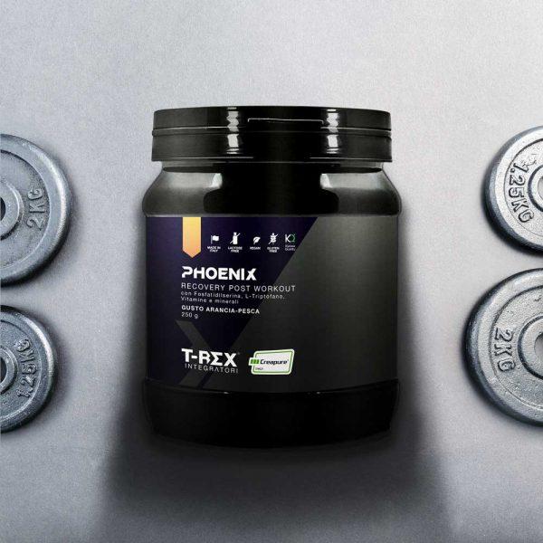 T-Rex Integratori, Phoenix Recovery Post Workout a base di aminoacidi Kyowa Quality®, fosfatidilserina, vitamine e minerali. Ideale per recuperare dopo un'intensa sessione di allenamento