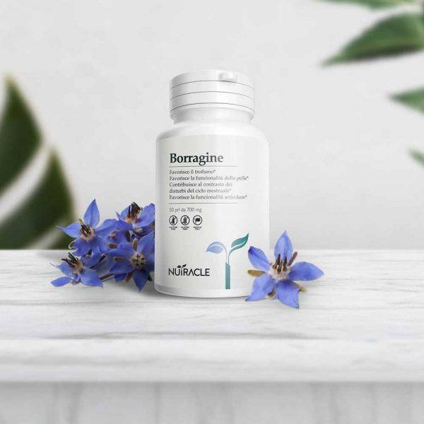Nutracle, Borragine a base di Borago Officinalis. Utile per il benessere della pelle e per il contrasto dei disturbi del ciclo mestruale