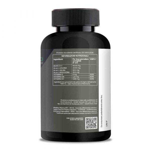 T-Rex Integratori, BCAA 8:1:1 a base di aminoacidi a catena ramificata Kyowa Quality® di origine vegetale. Con l'aggiunta di Vitamina B1, B6 ed E.
