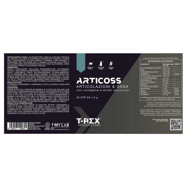 T-Rex Integratori, Articoss Articolazioni e Ossa a base di acido ialuronico, vitamina D, collagene e condroitina. Per il benessere di articolazioni, legamenti e cartilagini
