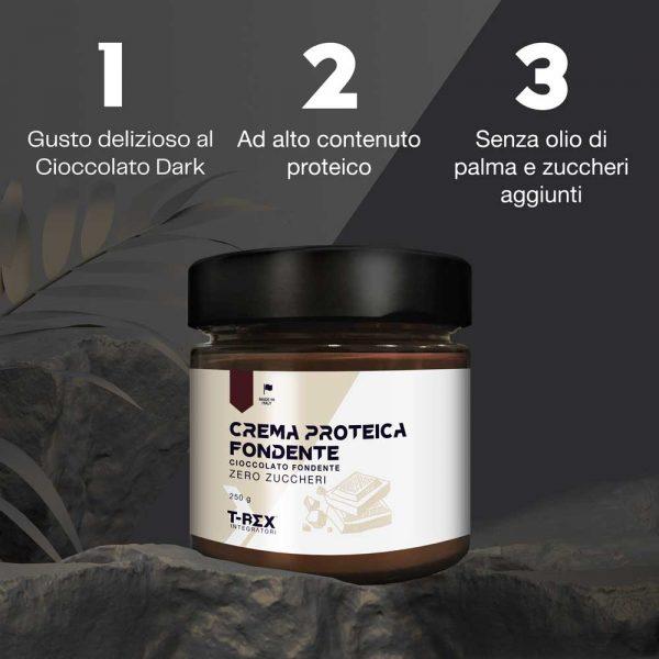 T-Rex Integratori, Crema proteica fondente a base di proteine del siero del latto al gusto cioccolato fondente e bianco. La tua colazione, il tuo spuntino, il tuo dopocena proteico