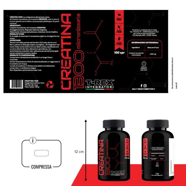 Creatina 1300 Monoidrata Micronizzata Creapure® 100 compresse da 1500 mg