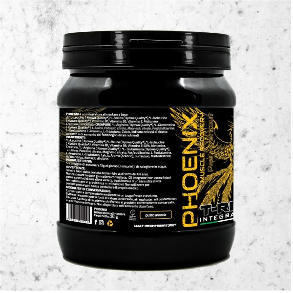Post Workout PHOENIX MUSCLE RECOVERY Aroma Arancia. 250 gr in polvere Kyowa® e Creapure®