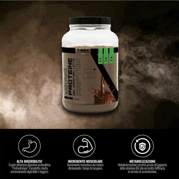 Whey Protein RAPTOR 1 kg. Proteine del siero del latte Isolate/concentrate VOLAC® con Prohydrolase®