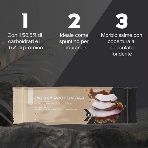 Baretta energetica e proteica di carboidrati e proteine, ricoperta di cioccolato al gusto cocco, 50 g. Ideale come spuntino per sport di resistenza ed endurance