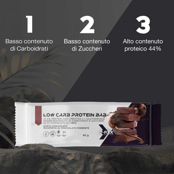 T-Rex Integratori, Low Carb Protein Bars Cioccolato 44,5% baretta iper-proteica a base di proteine arricchita con creatina, glutammina e vitamine, ricoperta di cioccolato al gusto cioccolato. L'ideale per il tuo spuntino proteico