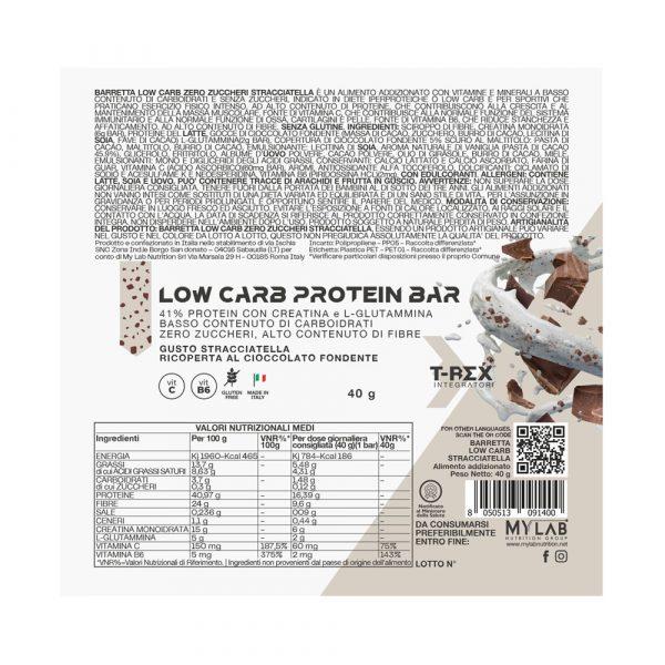 T-Rex Integratori, Low Carb Protein Bars Stracciatella 41% baretta iper-proteica a base di proteine arricchita con creatina, glutammina e vitamine, ricoperta di cioccolato al gusto stracciatella. L'ideale per il tuo spuntino proteico