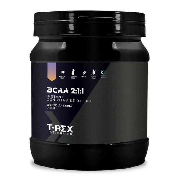 T-Rex Integratori, BCAA 2:1:1 Instant a base di aminoacidi a catena ramificata Kyowa Quality® di origine vegetale. Con l'aggiunta di Vitamina B1, B6 ed E.
