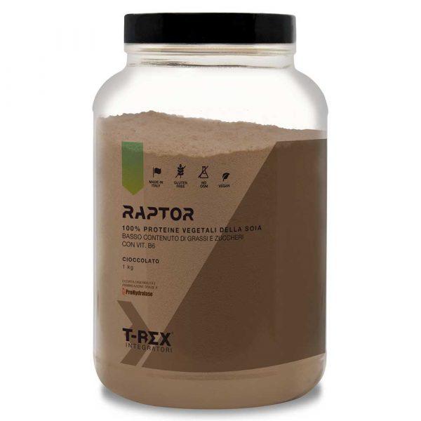 T-Rex Integratori, Raptor Proteine Vegetali della Soia al gusto cioccolato con l'aggiunta dell'enzima Prohydrolase® e Vitamina B6. L'ideale per l'aumento ed il mantenimento della massa muscolare