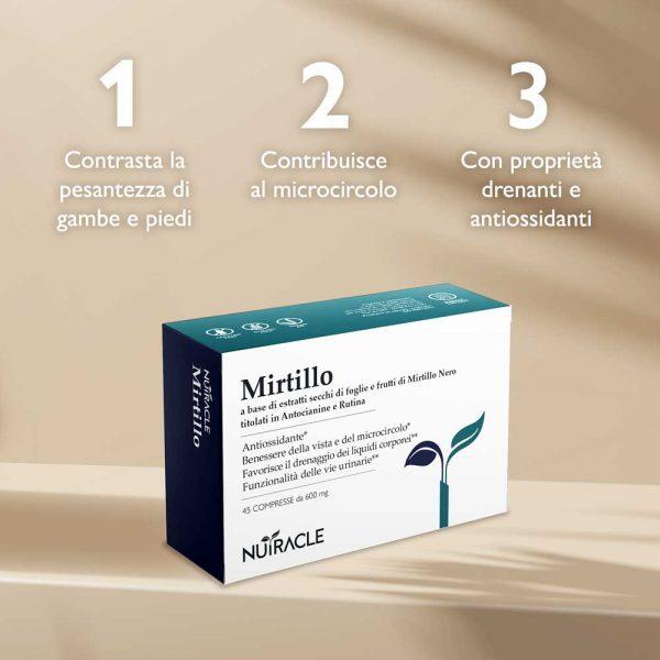 Nutracle, Mirtillo a base di foglie e frutti di Mirtillo Nero, utile a sostenere il microcircolo, la vista e le vie urinarie