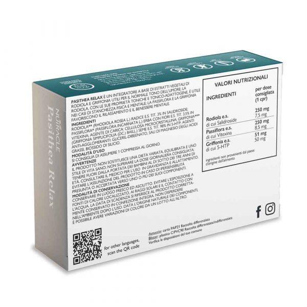 Nutracle, Pasithea Relax a base di Rodiola, Passiflora, 5-HTP da Griffonia, 30 compresse. Utile per favorire il rilassamento ed il sonno in caso di stress