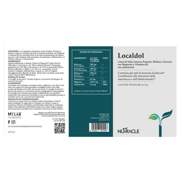 Nutracle, LocalDol a base di Salice Bianco, Partenio, Melissa, Zenzero e vitamine. Utile al contrasto di stati di tensione localizzati