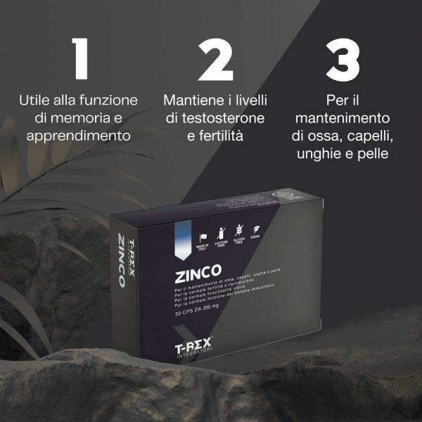 T-Rex Integratori, Zinco a base di zinco gluconato. Utile per il benessere di ossa, capelli, unghie, pelle, fertilità e riproduzione, vista e tanto altro.
